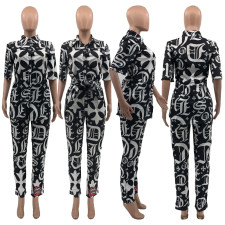 Printed Short Sleeve Shirt And Pants Two Piece Set JCF-7041