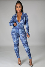 Sexy Printed V Neck Bodysuit+Pants Two Piece Sets BS-1245