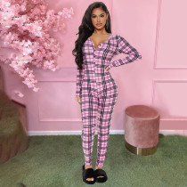 Plaid Print Long Sleeve One Piece Jumpsuit YH-5202