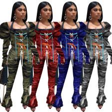 Camo Print Lace Up Top Flared Pants 2 Piece Sets NIK-196