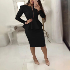Elegant Solid Zipper Peplum Top Midi Skirt OL 2 Piece Sets RSN-785