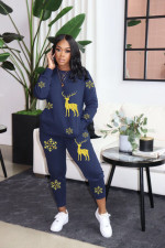 Christmas Printed Long Sleeve Two Piece Pants Set RSN-783