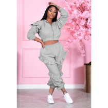 Casual Solid Ruffled Hooded Two Piece Sets PIN-8558