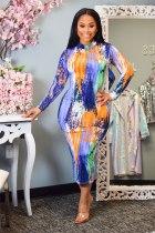 Fashion Tie-dye Print Sexy Slim Long Sleeve Midi Dress KYF-3040