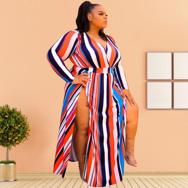 Plus Size 5XL Striped V Neck High Split Maxi Dress OSIF-20942