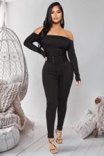 Plus Size Sexy Slash Neck Lace Up Jumpsuit LX-6151