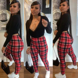 Long Sleeve Top And Sexy Skinny Casual Plaid Pencil Pants Suit TMF-8002
