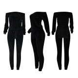 Casual Fashion Solid Color Velvet Long Sleeve Pants Two Piece Set FENF-067