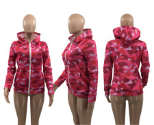 Fashion Print Long Sleeve Hoodie Coat YMF-3524