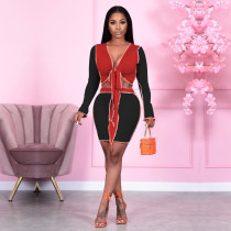 Sexy Long Sleeve Tie Up Crop Top Mini Skirt Sets PN-6644