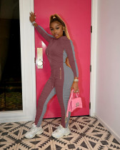 Casual Sports Splice Hoodie And Ruched Pants Two Piece Set HTF-6055