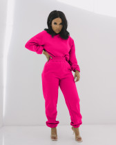 Solid Hoodie Sweatpants Casual Two Piece Sets MIL-192