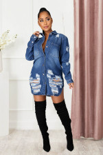 Plus Size Casual Ripped Hole Full Sleeve Buttons Shirt Coat LX-6046