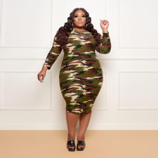 Plus Size 4XL Camo Print Long Sleeve Midi Dress YD-8349