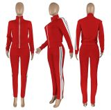 Casual Sports Patchwork Zipper Two Piece Suits CH-8158