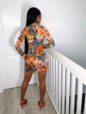 Plus Size 4XL Butterfly Print Long Sleeve Mini Dress OM-1197