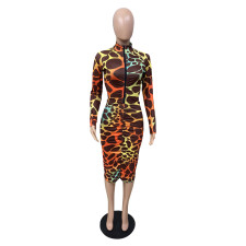 Plus Size Long Sleeve Printed Front Zip Midi Dress WAF-7132