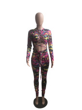 Plus Size Sexy Printed Hollow Out Tie Long Sleeve Jumpsuit WXF-8022