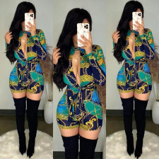 Sexy Chain Print Deep V Neck Rompers LUO-3127