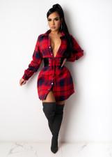 Plaid Print Collect Waist Full Sleeve Shirt Dress With Belt ZSD-0372