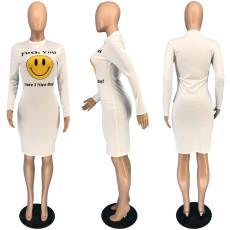 White Letter Smiley Print Bodycon Dress RUF-8171