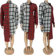 Plaid Patchwork Long Sleeve Irregular Shirts Dress FNN-8572