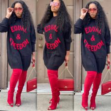 Fashion Trend Letter Embroidery Sweatshirts Dress ABF-6649