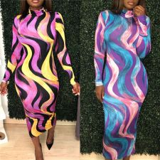 Sexy Printed Turtleneck Full Sleeve Slim Long Dress LSL-6183