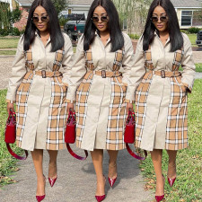 Casual Plaid Full Sleeve Belted Long Trench Coat GLF-8069