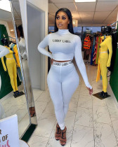 LUCKY LABEL Letter Print Tight Two Piece Sets FNN-8577