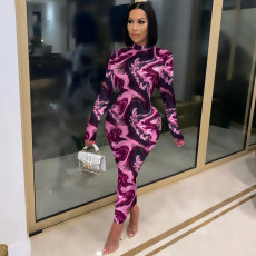 Trendy Printed Long Sleeve Slim Maxi Dress MIL-193
