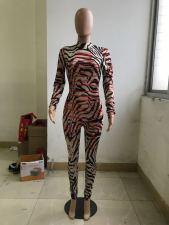 Plus Size Fashion Print Long Sleeve Tight Jumpsuit WXF-8025