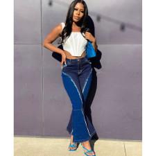 Plus Size Denim Patchwork Stretch Flared Jeans HSF-2403