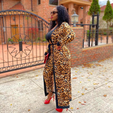 Leopard Print Full Sleeve Sashes Long Cloak Coat YD-8355