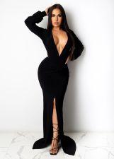 Sexy Deep V Neck Rcuched High Split Maxi Evening Dress SFY-224