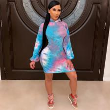 Plus Size Tie Dye Long Sleeve Hoodie Dress SHE-7241