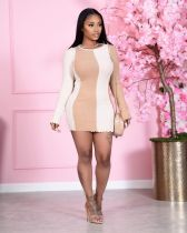 Sexy Ribbed Patchwork Long Sleeve Bodycon Mini Dress YM-9269