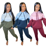 Casual Patchwork Hoodies Two Piece Sets YIM-164
