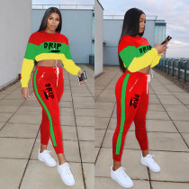 Contrast Color Splice DRIP Letter Printed Long Sleeve And Zipper Pocket Pants 2 Piece Set NSFF-8021