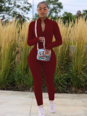 Plus Size 4XL Casual Solid Long Sleeve Zipper Jumpsuits YD-8352
