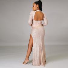 Sexy Sequined Beading Backless High Split Evening Dress CYA-8846
