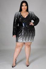 Plus Size 5XL Sequined V Neck Mini Dress With Belt CYA-1411
