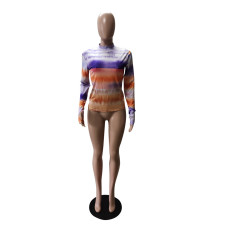 Round Neck Pullover Long Sleeve T-shirt WTF-9075