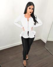 White Ruffled Long Sleeve Zipper Slim Tops LSL-6197