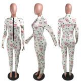 Fashionable Valentine's Day Print Slim Jumpsuit YMT-6191