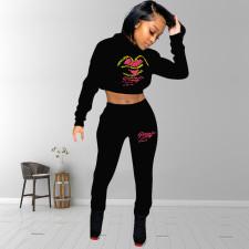 Embroidery Print Hooded Sweatshirts YMF-3529