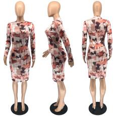 Printed Half High Neck Long Sleeve Midi Dress RUF-8173