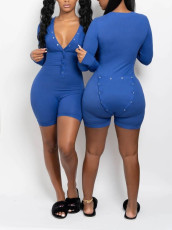 Sexy Solid Functional Buttoned Flap Onesies Rompers YMT-6192