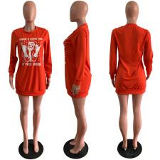 Casual Fashion Santa Claus Print Solid Color Sweatshirts Dress AWYF-709