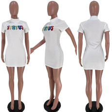 White Short Sleeve Letter Embroidery Mini Dress XSF-6028